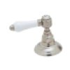 Polished Nickel Acqui 4-Hole Deck Mount Column Spout Tub Filler With Handshower With White Porcelain Lever