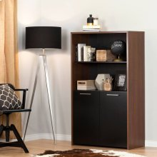 Storage Bookcase with Doors - Brown Walnut and Pure Black