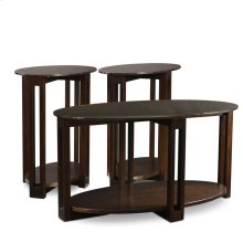 Oval Bronze Glass Top Contemporary Two Side Table & Coffee Table Three Pack #10013-CH