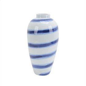 "Ceramic Striped Vase 15.5"", White/blue"