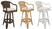 """Key Largo Indoor Swivel Rattan & Wicker 30"""" Bar Stool in Antique Finish with Cushion Product Image"""