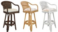 "Key Largo Indoor Swivel Rattan & Wicker 30"" Bar Stool in Antique Finish with Cushion Product Image"