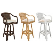 "Key Largo Indoor Swivel Rattan & Wicker 30"" Bar Stool in Antique Finish with Cushion"