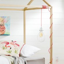 Teardrop shade with cord for wall outlet - White and Pink