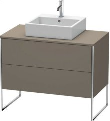 Vanity Unit For Console Floorstanding, Flannel Grey Satin Matt Lacquer