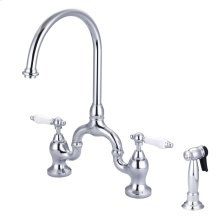 Banner Kitchen Bridge Faucet - Porcelain Lever Handles - Brushed Nickel