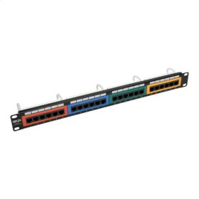 24-Port 1U Rack-Mount 110-Type Color-Coded Patch Panel, RJ45 Ethernet, 568B, Cat5/5e