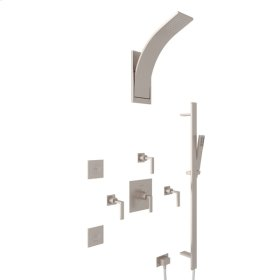 Satin Nickel Wave Thermostatic Shower Package with Metal Lever