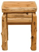 One Drawer Nightstand - Natural Cedar - Log Front Product Image