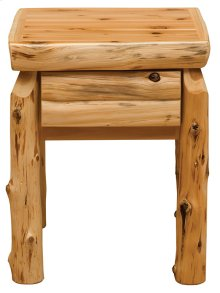 One Drawer Nightstand - Natural Cedar - Log Front