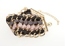 BTQ Woven Gold Chain and Fabric Bracelet