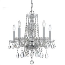 Traditional Crystal 5 Light Swarovski Strass Crystal Chrome Mini Chandelier