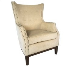 Seville Upholstered Ivory Wing Chair with Nailhead Trim