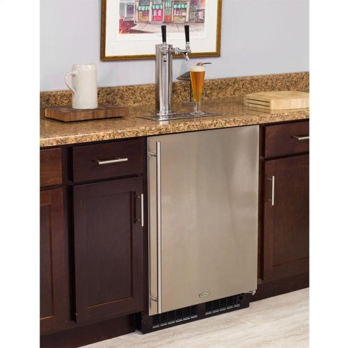Built-In Indoor Single Tap - Marvel Refrigeration - Solid Panel Overlay Ready Door - Integrated Right Hinge