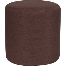 Barrington Upholstered Round Ottoman Pouf in Brown Fabric
