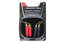 Twist Crimp Toolless Speaker Cable Connectors Angled Gold Pins - 4 pair