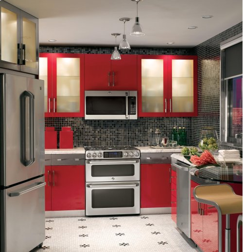 """GE Cafe™ Series 30"""" Slide-In Front Control Gas Double Oven with Convection Range Display Model"""