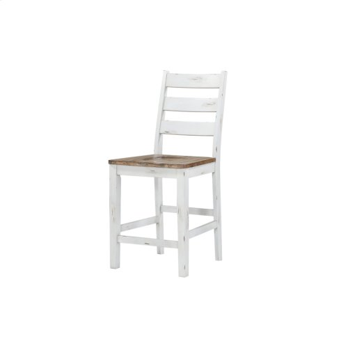 Ladderback Barstool-country White W/brown Wood Seat