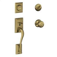 Addison Single Cylinder Handleset and Georgian Knob - Antique Brass
