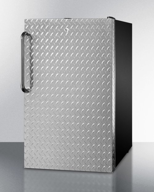 """Commercially Listed ADA Compliant 20"""" Wide Built-in Refrigerator-freezer With A Lock, Diamond Plate Door, Towel Bar Handle and Black Cabinet"""