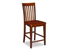 Mission Pub Chairs Set of 2 with Wood Seat in Walnut