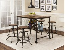 Sunset Trading 5 Piece Rustic Elm Industrial Pub Table Set with Built-In Wine Rack