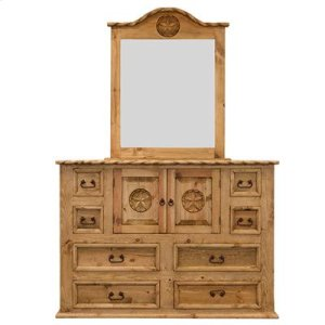 """Dresser : 65"""" x 21"""" x 45"""" Country Bed with Rope and Star Dresser"""