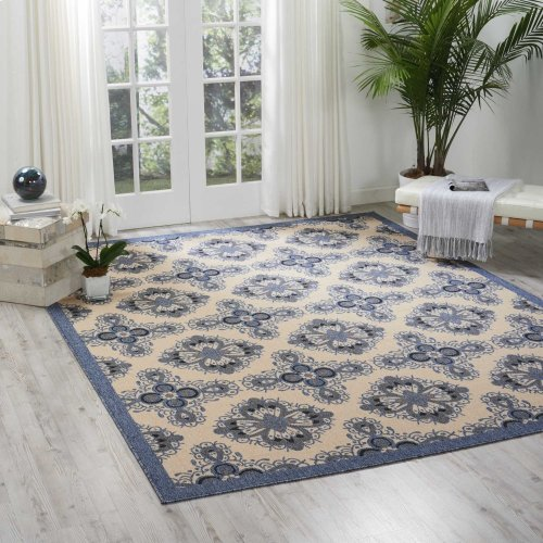Caribbean Crb10 Ivory Blue Rectangle Rug 7'10'' X 10'6''
