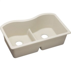 "Elkay Quartz Classic 33"" x 20"" x 9-1/2"", Equal Double Bowl Undermount Sink with Aqua Divide, Bisque"