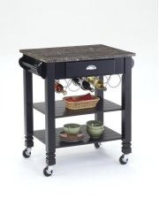 Black Faux Marble Top Kitchen Island Product Image