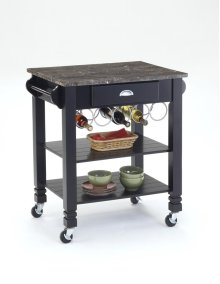 Black Faux Marble Top Kitchen Island