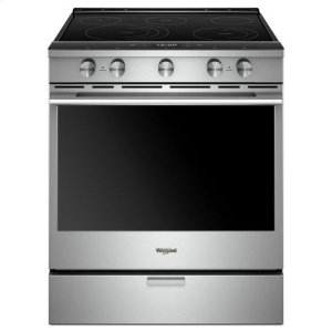 Whirlpool(R) 6.4 Cu. Ft. Smart Contemporary Handle Slide-in Electric Range with Frozen Bake(TM) Technology - Fingerprint Resistant Stainless Steel - FINGERPRINT RESISTANT STAINLESS STEEL