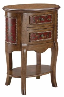 Oval Chairside Table 2dw Red / Brwn