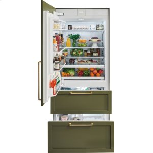 """36"""" Designer Over-and-Under Refrigerator/Freezer with Internal Dispenser and Ice Maker - Panel Ready"""