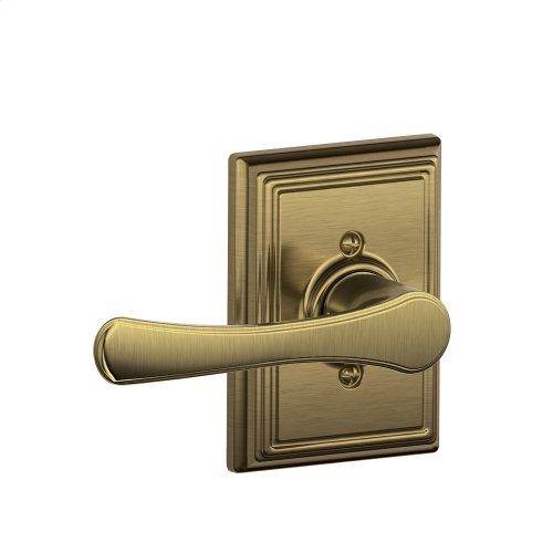 Avila Lever with Addison trim Non-turning Lock - Antique Brass