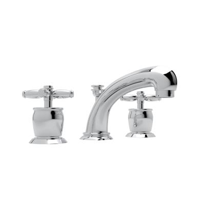Polished Chrome Michael Berman Zephyr Spout Widespread Lavatory Faucet with Michael Berman Metal Lever