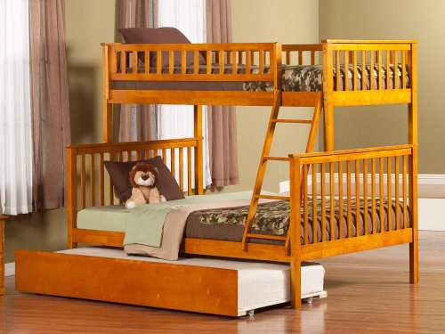 Woodland Bunk Bed Twin over Full with Urban Trundle Bed in Caramel Latte
