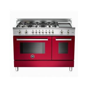 Bertazzoni48 6-Burner + Griddle, Electric Self-Clean Double Oven Burgundy