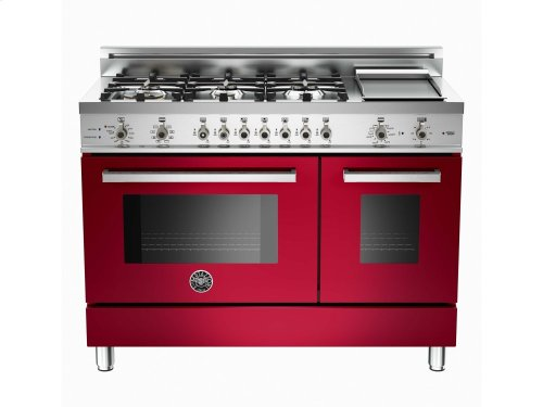 48 6-Burner + Griddle, Electric Self-Clean Double Oven Burgundy