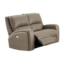 Power Reclining Love Seat in Driftwood-Bone