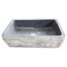 "Birgitta Single Bowl Granite Farmer Sink - Polished Blue Gray / 33"""