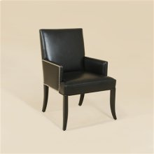 BLACK LACQUER FINISHED ARMCHAI R, BLACK LEATHER AND BLACK HAI R HIDE UPHOLSTERY