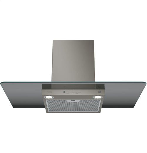 "GE Profile Series 36"" Wall-Mount Glass Canopy Chimney Hood"