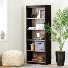5-Shelf Bookcase - Weathered Oak and Ebony