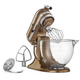 KitchenAid® Artisan® Design Series 5 Quart Tilt-Head Stand Mixer with Glass Bowl - Antique Copper