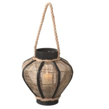 Small Jute Pillar Lantern with Rope Handle