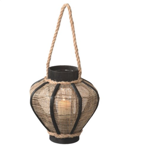 Small Jute Pillar Lantern with Rope Handle
