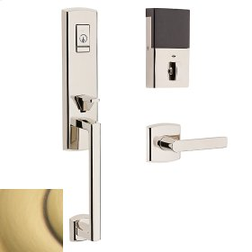 Satin Brass and Brown Evolved Soho 3/4 Escutcheon Handleset