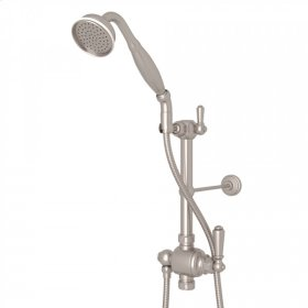 "Satin Nickel Riser Diverter, Handshower, Hose, Parking Bracket and 8"" Thermostatic Outlet with Edwardian Metal Lever"