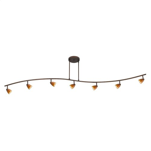 7 Lights with Depth,Serpentine light, 120V, GU-10, 50W each, w/ 60in wire (purchase the extra poles s